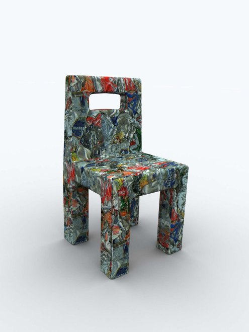 Chair made of recycled cans