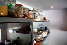 Bespoke kitchen shelving in lacquered steel